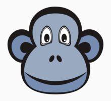 Blue Monkey on White One Piece - Short Sleeve