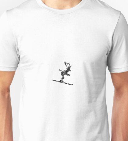 Ski Stag Vintage Black (Deer) Unisex T-Shirt