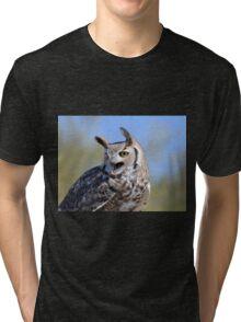 Vocal Great-Horned Owl Tri-blend T-Shirt