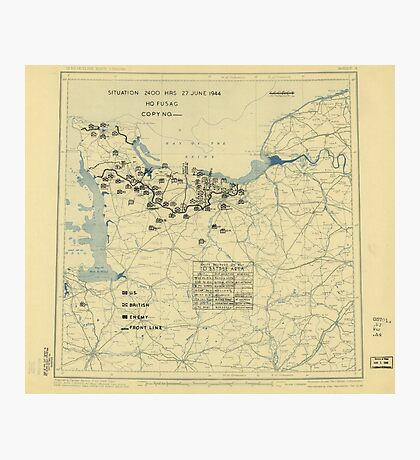 June 27 1944 World War II HQ Twelfth Army Group situation map Photographic Print