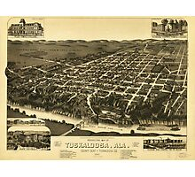 Perspective Map of Tuskaloosa Alabama (1887) Photographic Print