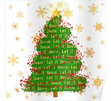 Let It Snow Christmas Tree word art Poster