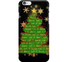 Let It Snow Christmas Tree berry garland word art iPhone Case/Skin