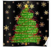 Let It Snow Christmas Tree berry garland word art Poster