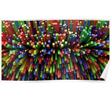 Abstract Cube Array - Mixed Colors Poster