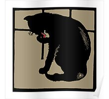 Art drawing black cat modern woodcut style Poster