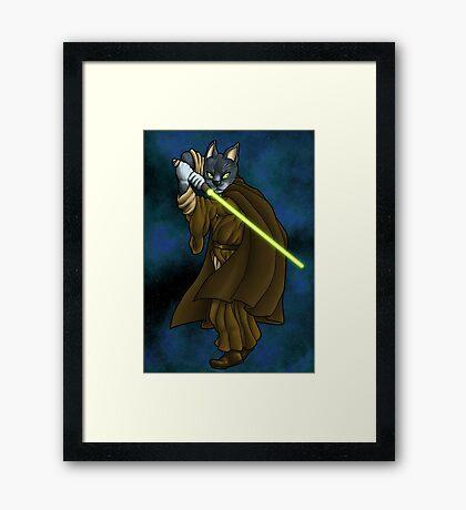 Cat Jedi (New) Framed Print