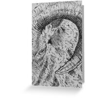 Goat Horn Etching Art Greeting Card