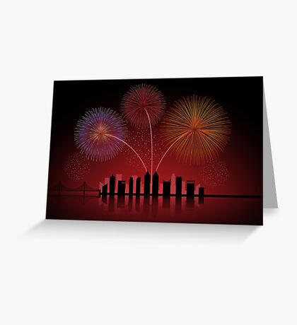 Fireworks over Cityscape Skyline Greeting Card