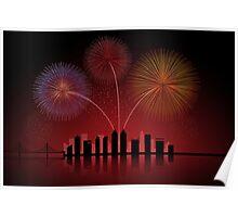 Fireworks over Cityscape Skyline Poster