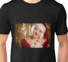Portrait of a female santa claus embracing. Unisex T-Shirt