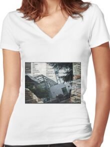 Portland Library Conference Collage Women's Fitted V-Neck T-Shirt