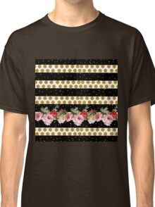 Pink roses stripes gold faux glitter polka dots Classic T-Shirt
