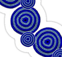 Authentic Aboriginal Art - Water Holes Blue Sticker