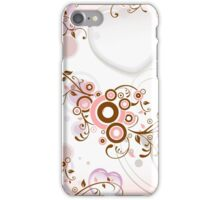 Vintage abstract pink brown floral pattern iPhone Case/Skin