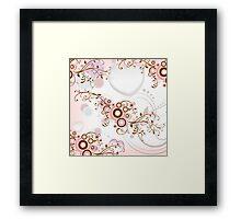 Vintage abstract pink brown floral pattern Framed Print