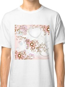 Vintage abstract pink brown floral pattern Classic T-Shirt