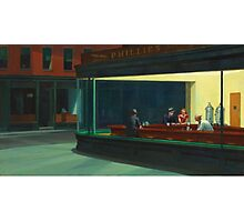 Vintage Edward Hopper Nighthawks Diner Photographic Print