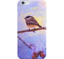 Black Cap Chickadee Winter Twilight iPhone Case/Skin