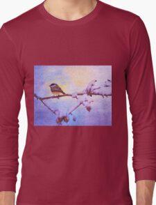 Black Cap Chickadee Winter Twilight Long Sleeve T-Shirt