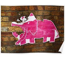 Tattered Pink Elephant  Poster