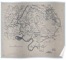 Civil War Maps 2149 Miscellaneous lithographed proof sheets of areas in Virginia field surveys compiled and printed by the Engineer Department Army of the Potomac Poster