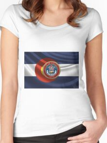 Colorado Great Seal over State Flag Women's Fitted Scoop T-Shirt