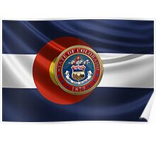 Colorado Great Seal over State Flag Poster