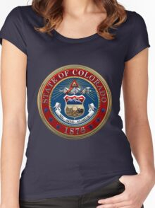 Colorado State Seal over Blue Velvet Women's Fitted Scoop T-Shirt