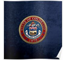 Colorado State Seal over Blue Velvet Poster