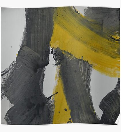 Yellow And Black Abstract 2 Poster