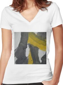 Yellow And Black Abstract 2 Women's Fitted V-Neck T-Shirt