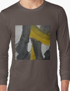 Yellow And Black Abstract 2 Long Sleeve T-Shirt