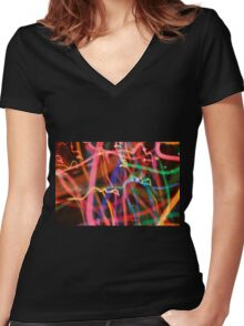 Psychedelic Glow Worm Women's Fitted V-Neck T-Shirt