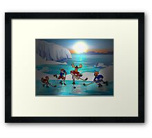 Arctic Hockey Sunset Framed Print