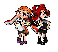 Inking Girl vs Octoling Girl Photographic Print