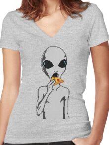 Alien eat pizza Women's Fitted V-Neck T-Shirt