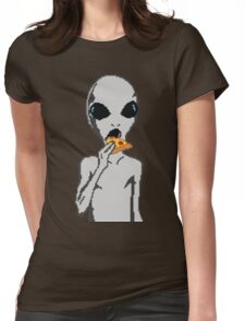 Alien eat pizza Womens Fitted T-Shirt
