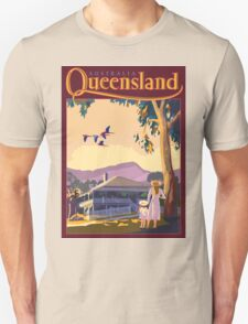 Art Deco Queensland with Queenslander House Unisex T-Shirt
