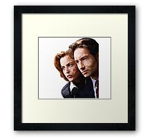 Low Poly X-Files Mulder and Scully Framed Print