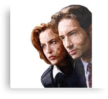 Low Poly X-Files Mulder and Scully Metal Print
