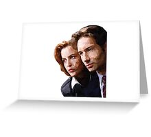 Low Poly X-Files Mulder and Scully Greeting Card