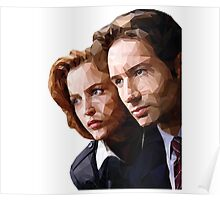 Low Poly X-Files Mulder and Scully Poster