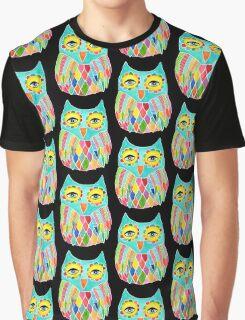 Watercolour Rainbow Owl Graphic T-Shirt