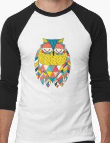 Aztec Owl Illustration Men's Baseball ¾ T-Shirt