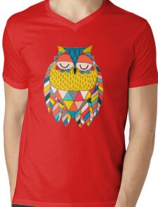 Aztec Owl Illustration Mens V-Neck T-Shirt