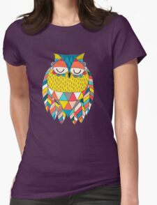 Aztec Owl Illustration Womens Fitted T-Shirt