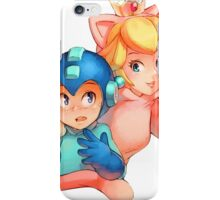 Mega Man and Princess Peach iPhone Case/Skin