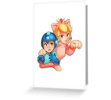 Mega Man and Princess Peach Greeting Card