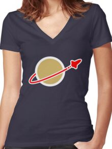 Lego Space! Women's Fitted V-Neck T-Shirt